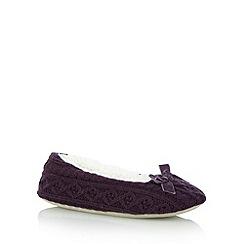 RJR.John Rocha - Designer purple cable knit ballet slippers