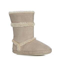 RJR.John Rocha - Designer natural suedette faux fur slipper boots