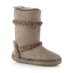RJR.John Rocha - Taupe faux fur trim slipper boots