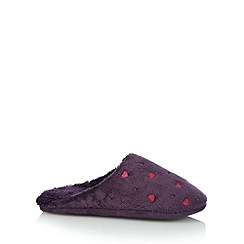 Lounge & Sleep - Purple embroidered hearts mule slippers