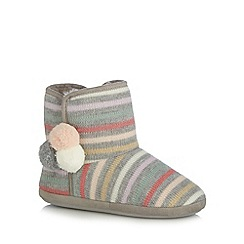 Lounge & Sleep - Grey striped knit slipper boots