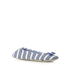 Lounge & Sleep - Blue striped jersey ballet slippers