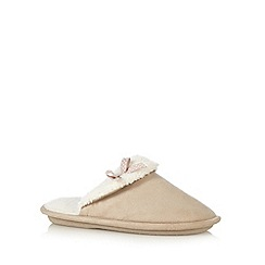 Lounge & Sleep - Natural fleece lined suedette mule slippers