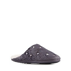 Lounge & Sleep - Dark grey butterflies mule slippers