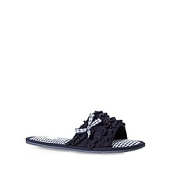 Floozie by Frost French - Navy ruffle floral mule slippers