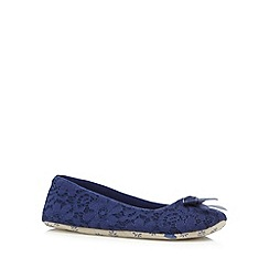 Lounge & Sleep - Navy lace ballet slippers