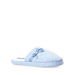 Lounge & Sleep - Blue jersey bow mule slippers