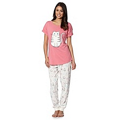 Lounge & Sleep - Pink cat applique pyjama set