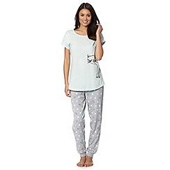 Lounge & Sleep - Aqua cat flock pyjama set