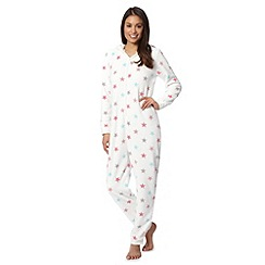 Lounge & Sleep - Cream star zip fastening onesie