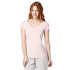 Lounge & Sleep - Pink plain Y neck pyjama t-shirt