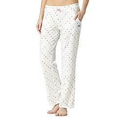 Lounge & Sleep - Ivory spotted long pyjama bottoms