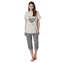 Lounge & Sleep - Grey 'Good Night' t-shirt and cropped bottoms pyjama set
