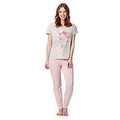 Lounge & Sleep - Pink balloon hearts printed pyjama set