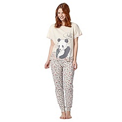 Lounge & Sleep - Cream panda printed pyjama set