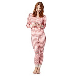 Lounge & Sleep - Pink striped and daisy print pyjama set