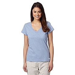 Lounge & Sleep - Light blue plain V neck pyjama t-shirt