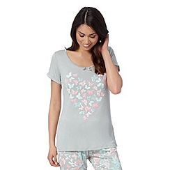 Lounge & Sleep - Pale green butterfly print pyjama top