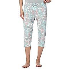 Lounge & Sleep - Pale green floral cropped pyjama bottoms