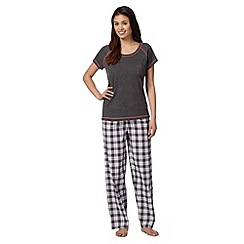 Lounge & Sleep - Dark grey checked pyjama set