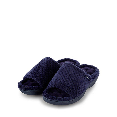 Isotoner - Navy popcorn textured open toe mule slippers