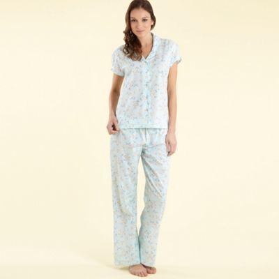 Aqua floral print woven pyjama set