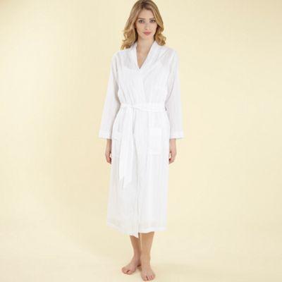 White Textured Stripe Wrap Dressing Gown