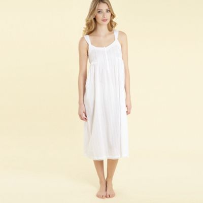 White Textured Stripe Nightdress