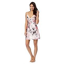 Presence - Pale pink satin rose print chemise