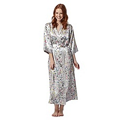 Presence - Grey floral lace long dressing gown