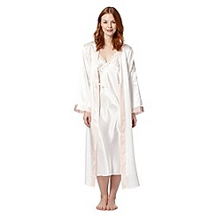 Presence - Ivory embroidered long dressing gown