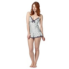 Presence - Pale green spotted satin camisole and shorts set