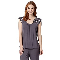 Presence - Dark grey spotted bow jersey pyjama top