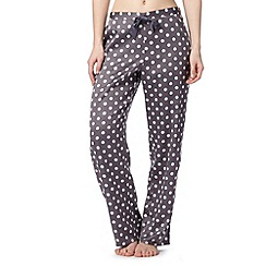 Presence - Dark grey spotted satin pyjama bottoms
