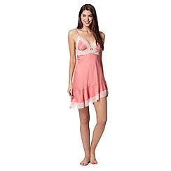 Presence - Pink lace trim satin chemise