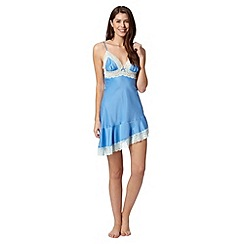Presence - Blue lace trim satin chemise