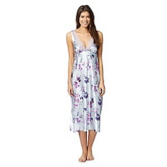 Presence - Pale blue floral satin nightdress