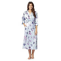 Presence - Pale blue long floral satin dressing gown