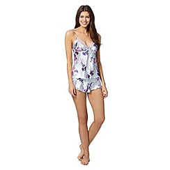Presence - Pale blue floral satin camisole and shorts set