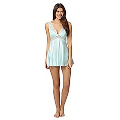 Presence - Pale green satin lace babydoll set