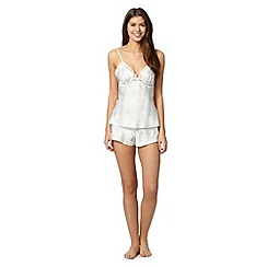 Presence - Ivory lace print satin camisole and shorts set