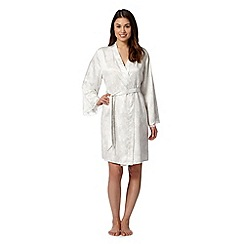 Presence - Ivory bloom lace trim wrap dressing gown