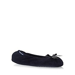 Totes - Navy 'Pillowstep' bow slippers