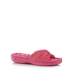 Isotoner - Dark peach soft knot mule slippers