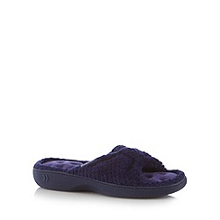 Totes - Navy popcorn fleece open toe mule slippers
