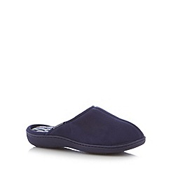 Totes - Navy 'Pillowstep' carpet mule slippers