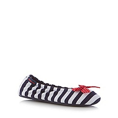 Totes - Navy nautical striped ballet slippers