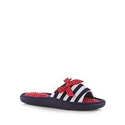 Totes - Navy striped spotted bow mule slippers