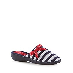Isotoner - Navy striped spotted bow mule slippers