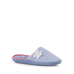 Totes - Blue crochet floral striped mule slippers